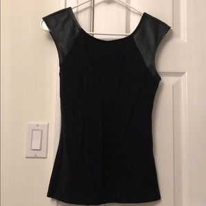 Express Cap Sleeve Faux Leather Tank